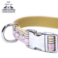 DOG COLLAR - CLASSIC STRIPES PINK BROWN WHITE (RIBBON 25mm)